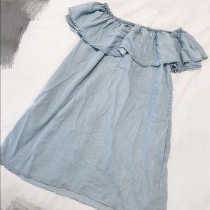 Zara jeans off shoulder summer dress